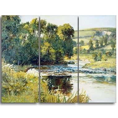 Designart Edward Mitchell Bannister, Streamside Landscape Canvas Art Print, (PT4341-3P)