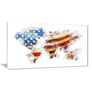 Designart Design US Flag Across the Map Canvas Art, (PT2827-32-16)