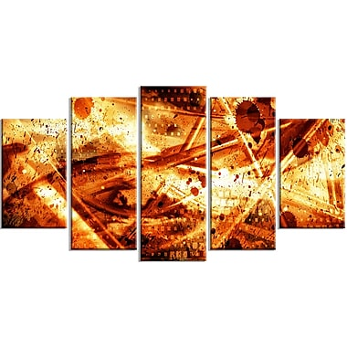Designart Signs of Life 5-Panel Abstract Canvas Art Print, (PT3097-373)