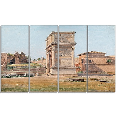 Designart Constantin Hansen, The Arch of Titus in Rome Landscape Canvas Arwork, (PT4271-271)