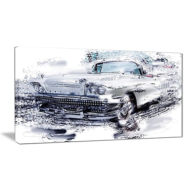 Designart Grey Muscle Car Small Gallery Wrapped Canvas, (PT2609-32x16)
