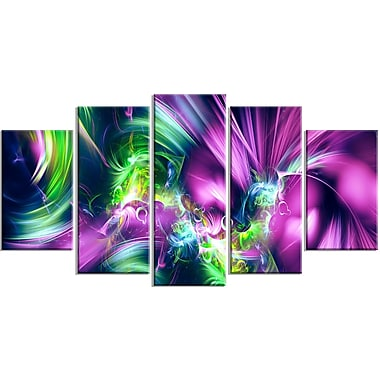 Designart Green and Purple Shine Contemporary Canvas Art, (PT3061-373)
