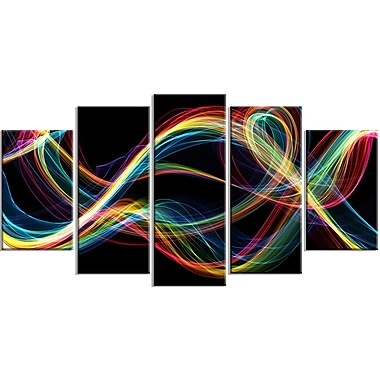 Designart Coloured Smoke 5-Panel Abstract Canvas Art Print, (PT3089-373)