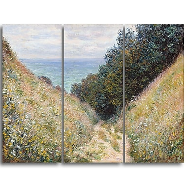 Designart Claude Monet, Road at La Cavee Pournville Landscape Canvas Arwork, (PT4259-3P)