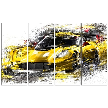 Designart Black and Yellow Speedster, 4 Piece Gallery-Wrapped Canvas, (PT2639-271)