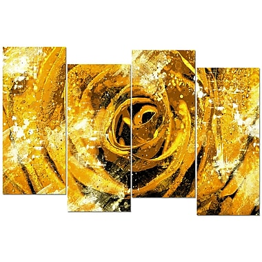 Designart Center of the Yellow Rose 4-Panel Canvas Art Print, (PT3427-3-271)