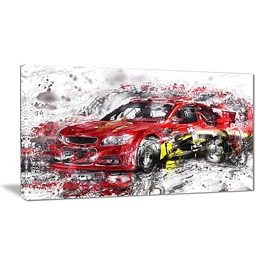 Designart Red Rally Car Small Gallery Wrapped Canvas, (PT2622-32x16)