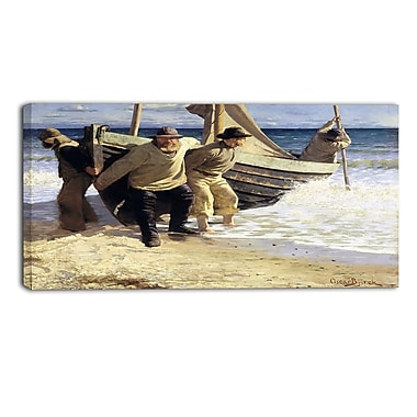 Designart Oscar Bjorck, Launching the boat, Skagen Canvas Art Print, (PT4758-40-20)