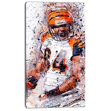 Designart Enthusiastic Football Player Street Art Canvas Artwork, (PT3612-16-32)