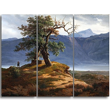 Designart Thomas Fearnley, Landscape with Wanderer Canvas Art Print, (PT4946-3P)