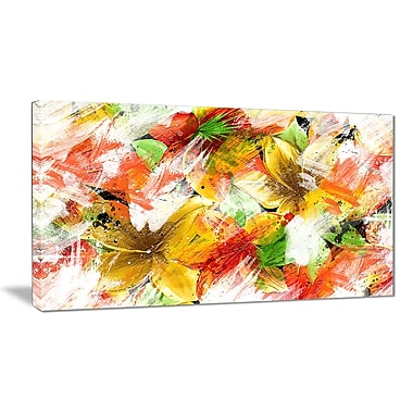 Designart MultiColour Flower Art Canvas Art Print, (PT3419-32-16)