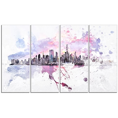 Designart Sunset Splash 4-Panel Cityscape Canvas Art Print, (PT3305-271)