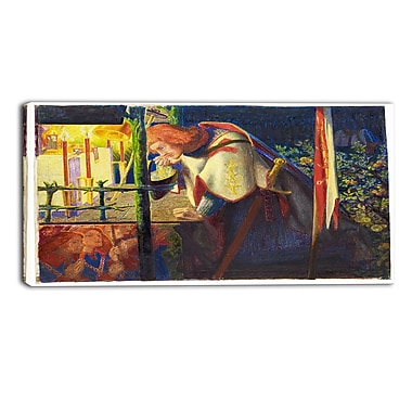 Designart Dante G. Rossetti, Sir Galahad at the Ruined Chapel Canvas Art Print, (PT4276-32-16)