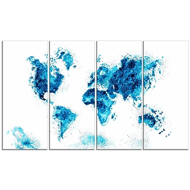 Designart Blue Map Canvas Art Print, (PT2708-3-271)