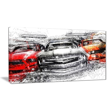 Designart American Street Race Small Gallery Wrapped Canvas, (PT2615-32x16)