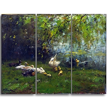 Designart Willem Maris, Duck Heaven Canvas Art Print, (PT4995-3P)