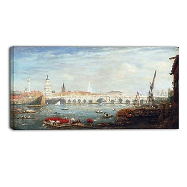 Designart Frederick Nash, The Monument and London Bridge Canvas Art Print, (PT4399-32-16)