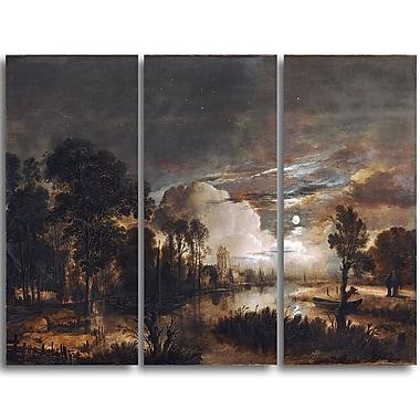 Designart Aert van der Neer, Moonlit Landscape Canvas Art Print, 3 Panels, (PT4110-3P)