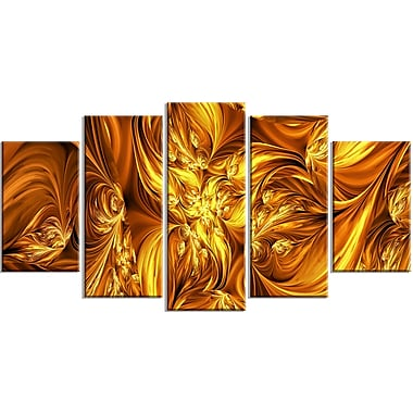 Designart Molten Gold Exchange 5-Panel Abstract Canvas Art Print, (PT3093-373)