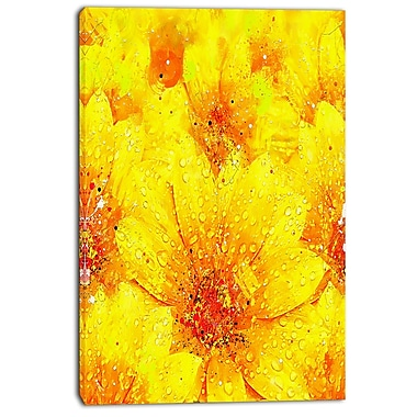 Designart Yellow Thicket Floral Canvas Art Print, (PT3442-24-40)