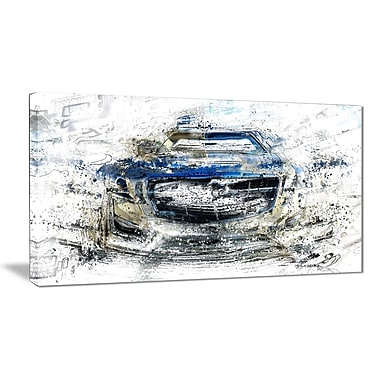 Designart Abstract Muscle Car Canvas Art Print, (PT2648-32-16)