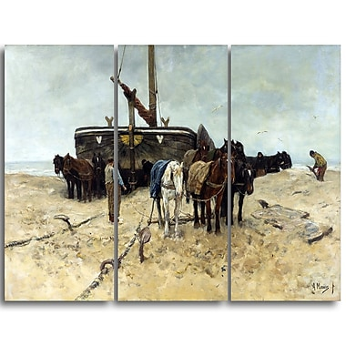 Designart Anton Mauve, Fishing Boat on the Beach Canvas Art Print, (PT4151-3P)