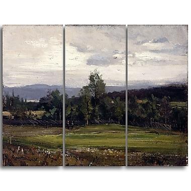 Designart Gerhard Munthe, Fields at Hedmark in Summer Landscape Wall Art, (PT4438-3P)