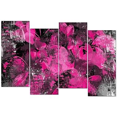 Designart – Art imprimé sur toile, pétales roses, 4 panneaux (PT3406-4-271)