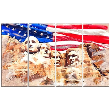 Designart Mount Rushmore and US Flag Large Americana Canvas Art Print, (PT2808-271)