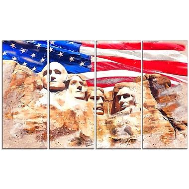 Designart – Imprimé sur large toile, Mont Rushmore et drapeau américain