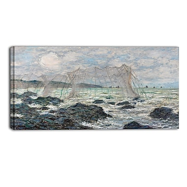 Designart Claude Monet, Fishing Nets at Pourville Canvas Art Print, (PT4254-32-16)