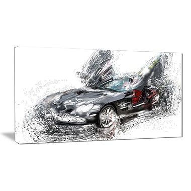 Designart Black Luxury Super Car Gallery-Wrapped Canvas, (PT2630-32-16)