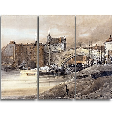 Designart Thomas Girtin, Ouse Bridge Canvas Art Print, (PT4967-3P)
