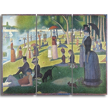Designart Georges Seurat, A Sunday on La Grande Jatte Landscape Canvas Wall Art, (PT4427-3P)