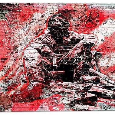 Designart Red Hazardous Behavior Street Art Canvas Artwork, (PT3633-2-30-30)