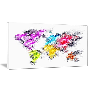 Designart Colours of the Rainbow Map Canvas Art Print, (PT2737-32-16)