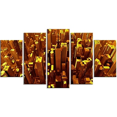 Designart – Impression moderne sur toile, ville dorée du ciel, 5 panneaux (PT3077-373)