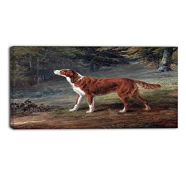 Designart – George Garrard, Ranger, Un chien de chasse, paysage imprimé sur toile (PT4414-32-16)