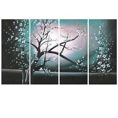 Designart Blossoming in the Moonlight, 4 Piece Wall Art Canvas, (PT271-EMERAUD)