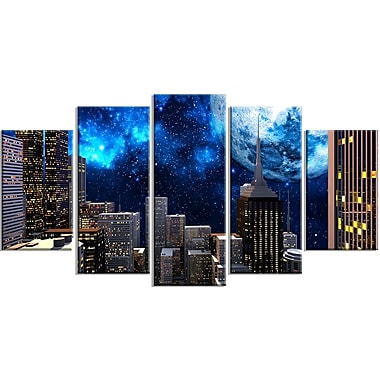 Designart Abstract City at Night 5-Panel Contemporary Canvas Art Print, (PT3069-373)