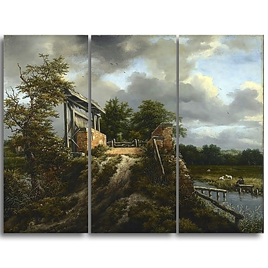 Designart Jacob van Ruisdael, Bridge with a Sluice Canvas Art Print, (PT4526-3P)