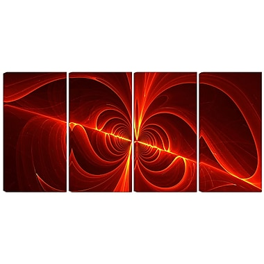 Designart Red Laser 4-Panel Modern Canvas Art Print, (PT3036-271)