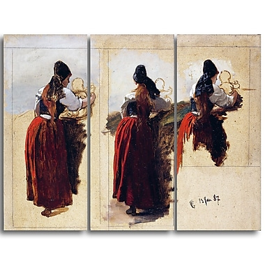 Designart Hans Gude, Studies of a Woman from Rugen Canvas Art Print, (PT4467-3P)