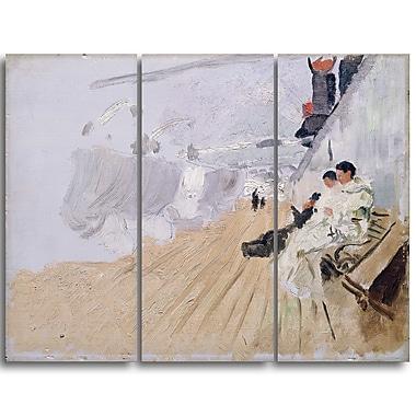 Designart – Frits Thaulow, moines sur la terrasse, mer et rivage, toile d'illustration (PT4404-3P)