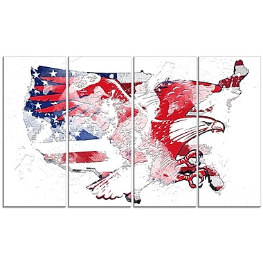 Designart American Eagle Map Canvas Art, (PT2828-271)