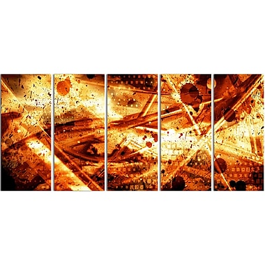 Designart Signs of Life 5-Panel Abstract Canvas Art Print, (PT3097-401)