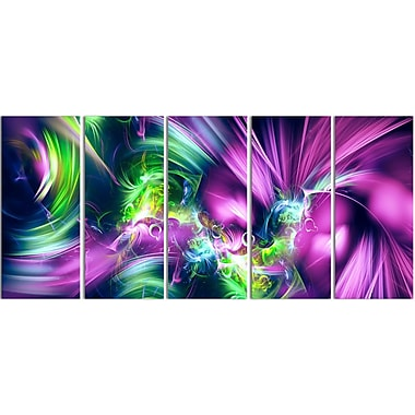 Designart Green and Purple Shine Contemporary Canvas Art, (PT3061-401)