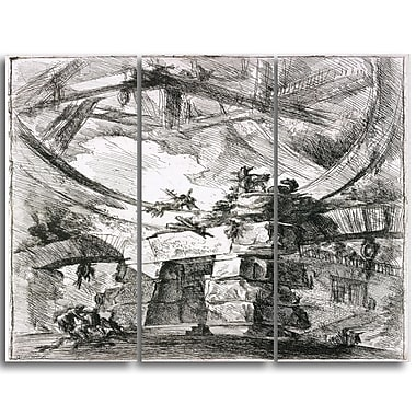 Designart Giovanni Battista Piranesi, Imaginary Prison Canvas Art Print, 3 Panels, (PT4447-3P)