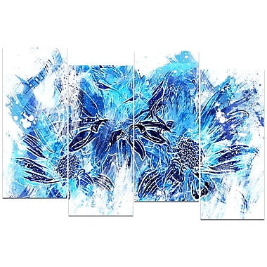 Designart Electric Blue Flowers 4-Panel Canvas Art Print, (PT3410-1-271)