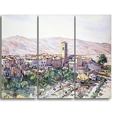 Designart Edward Darley Boit, Poppi in the Casentino, Tuscany Landscape Canvas Art Print, (PT4327-3P)